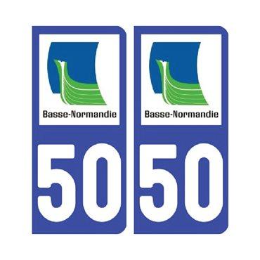 Sticker plaque Manche 50 - Pack de 2 - normandie & stickers auto - stickmycar.fr