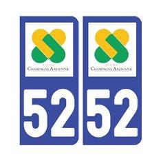 Sticker plaque Haute-Marne 52 - Pack de 2