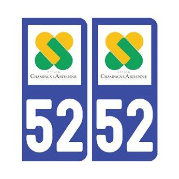 Sticker plaque Haute-Marne 52 - Pack de 2 - alsace-champagne-ardenne-lorraine & stickers auto - stickmycar.fr