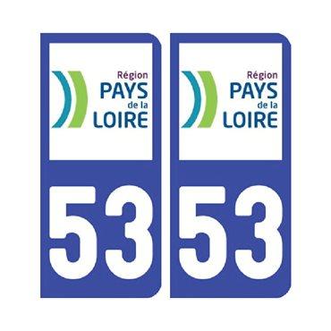 Sticker plaque Mayenne 53 - Pack de 2 - pays de la loire & autocollant voiture - stickmycar.fr