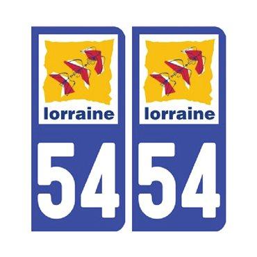Sticker plaque Meurthe-et-Moselle 54 - Pack de 2 - alsace-champagne-ardenne-lorraine & stickers auto - stickmycar.fr