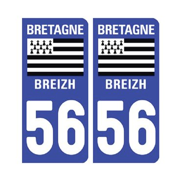 Sticker plaque Morbihan 56 - Pack de 2 - bretagne & stickers auto - stickmycar.fr