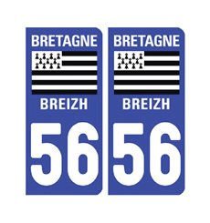 Sticker plaque Morbihan 56 - Pack de 2