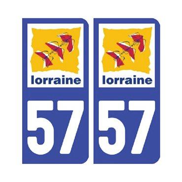 Sticker plaque Moselle 57 - Pack de 2 - alsace-champagne-ardenne-lorraine & autocollant voiture - stickmycar.fr
