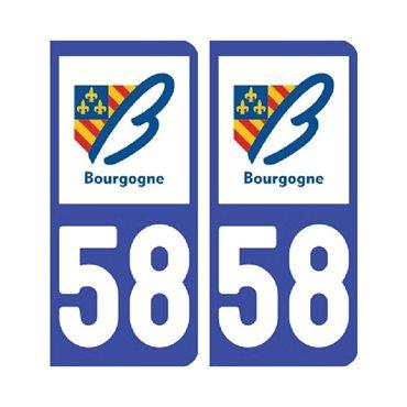 Sticker plaque Nièvre 58 - Pack de 2 - bourgogne-franche-comté & stickers auto - stickmycar.fr