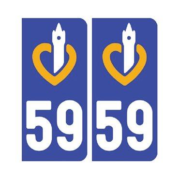 Sticker plaque Nord 59 - Pack de 2 - nord-pas-de-calais-picardie & autocollant voiture - stickmycar.fr