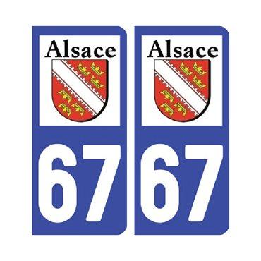 Sticker plaque Bas-Rhin 67 - Pack de 2 - alsace-champagne-ardenne-lorraine & autocollant voiture - stickmycar.fr