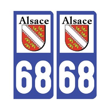 Sticker plaque Haut-Rhin 68 - Pack de 2 - alsace-champagne-ardenne-lorraine & stickers auto - stickmycar.fr