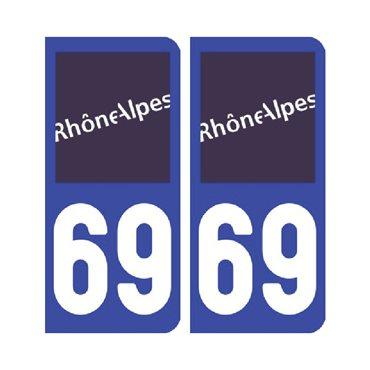 Sticker plaque Rhône 69 - Pack de 2 - auvergne-rhône-alpes & autocollant voiture - stickmycar.fr