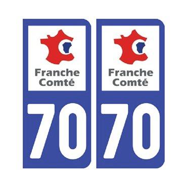 Sticker plaque Haute-Saône 70 - Pack de 2 - bourgogne-franche-comté & stickers auto - stickmycar.fr
