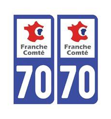 Sticker plaque Haute-Saône 70 - Pack de 2