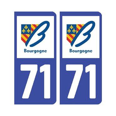 Sticker plaque Saône-et-Loire 71 - Pack de 2 - bourgogne-franche-comté & autocollant voiture - stickmycar.fr