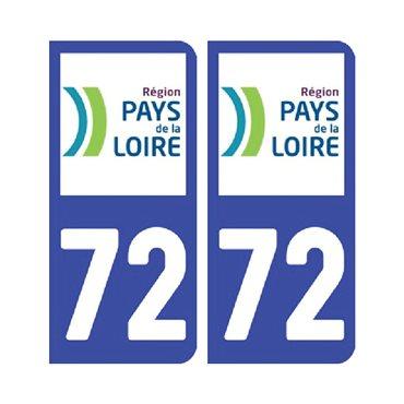 Sticker plaque Sarthe 72 - Pack de 2 - pays de la loire & stickers auto - stickmycar.fr