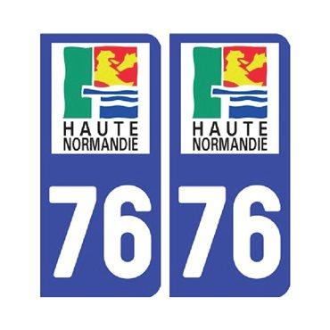 Sticker plaque Seine-Maritime 76 - Pack de 2 - normandie & stickers auto - stickmycar.fr