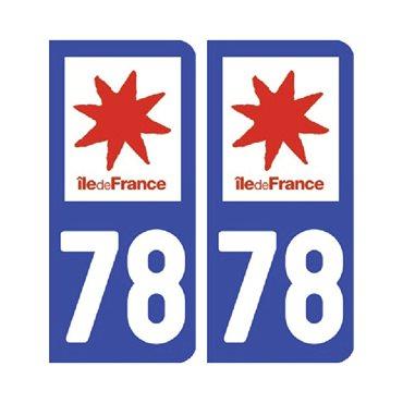 Sticker plaque Yvelines 78 - Pack de 2 - Île-de-france & stickers auto - stickmycar.fr