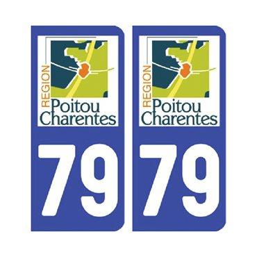 Sticker plaque Deux-Sèvres 79 - Pack de 2 - aquitaine-limousin-poitou-charentes & autocollant voiture - stickmycar.fr
