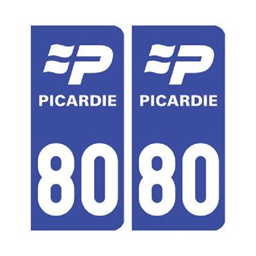 Sticker plaque Somme 80 - Pack de 2 - nord-pas-de-calais-picardie & stickers auto - stickmycar.fr
