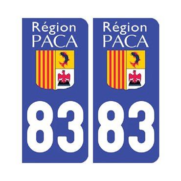 Sticker plaque Var 83 - Pack de 2 - stickers plaque d'immatriculation & autocollant voiture - stickmycar.fr