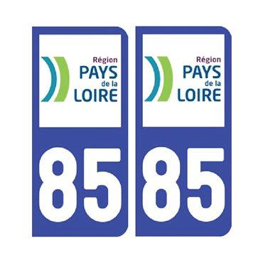 Sticker plaque Vendée 85 - Pack de 2 - pays de la loire & autocollant voiture - stickmycar.fr