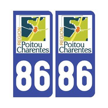 Sticker plaque Vienne 86 - Pack de 2 - aquitaine-limousin-poitou-charentes & stickers auto - stickmycar.fr