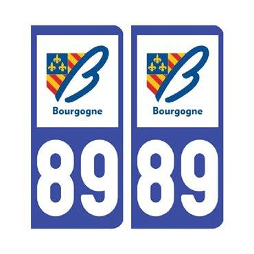 Sticker plaque Yonne 89 - Pack de 2 - bourgogne-franche-comté & autocollant voiture - stickmycar.fr