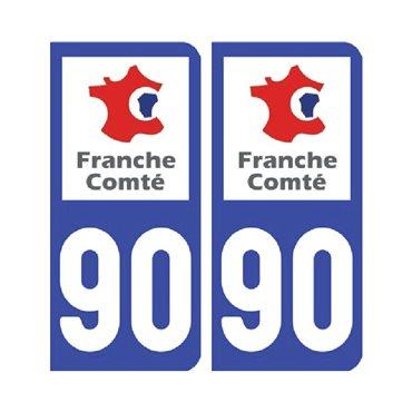 Sticker plaque Territoire-de-Belfort 90 - Pack de 2 - bourgogne-franche-comté & stickers auto - stickmycar.fr