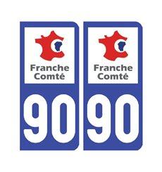 Sticker plaque Territoire-de-Belfort 90 - Pack de 2