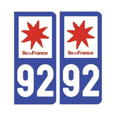 Sticker plaque Hauts-de-Seine 92 - Pack de 2 - Île-de-france & stickers auto - stickmycar.fr