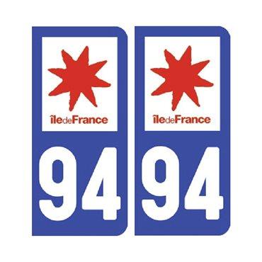 Sticker plaque Val-de-Marne 94 - Pack de 2 - Île-de-france & stickers auto - stickmycar.fr