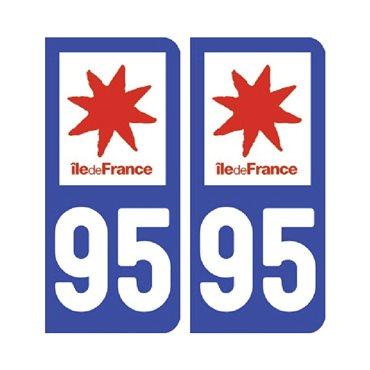 Sticker plaque Val-d'Oise 95 - Pack de 2 - Île-de-france & autocollant voiture - stickmycar.fr
