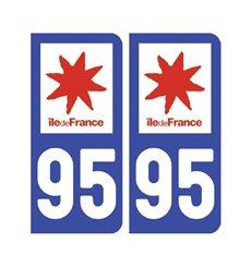 Sticker plaque Val-d'Oise 95 - Pack de 2