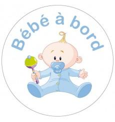Sticker Bébé à bord garçon hochet