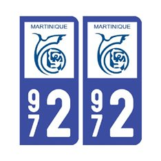 plaque Martinique - 972 Pack de 2