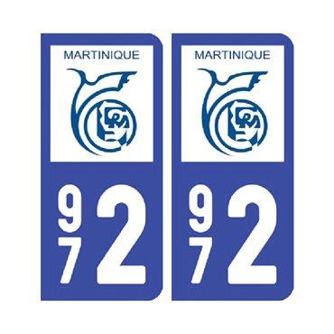 Sticker plaque Martinique - 972 Pack de 2 - drom & autocollant voiture - stickmycar.fr