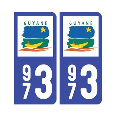 Sticker plaque Guyane 973 - Pack de 2 - drom & stickers auto - stickmycar.fr