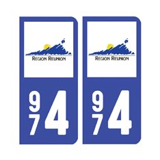 Sticker plaque Réunion 974 - Pack du 2