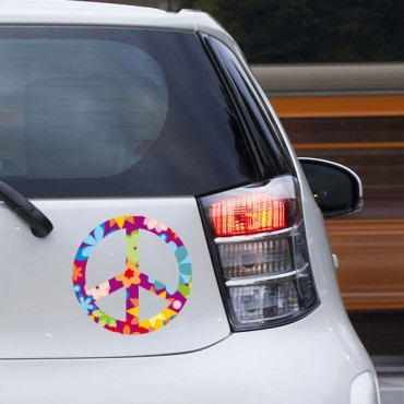 Sticker Peace and love fleurs violet - stickers peace and love & stickers auto - stickmycar.fr