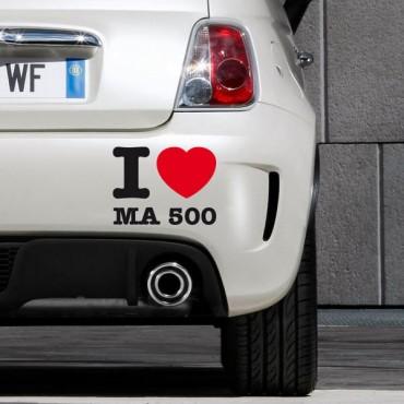 Sticker I love ma 500 - stickers i love & stickers auto - stickmycar.fr