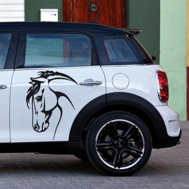 Sticker Tête de cheval - stickers animaux & autocollant voiture - stickmycar.fr