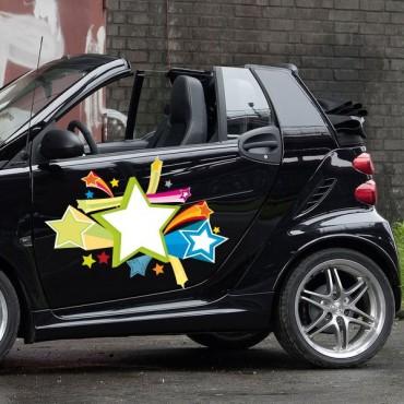 Sticker Explosion d'étoiles - stickers étoiles & autocollant voiture - stickmycar.fr