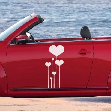 Sticker Fleurs coeurs - stickers coeur & stickers auto - stickmycar.fr
