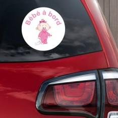 Sticker Bébé à bord fille peluche