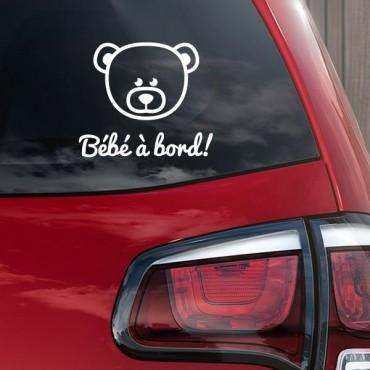 Sticker Bébé à bord nounours - stickers bébé à bord & stickers auto - stickmycar.fr