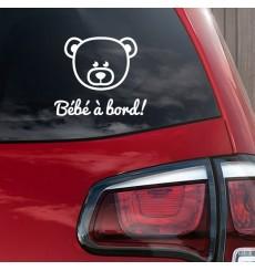 Sticker Bébé à bord nounours