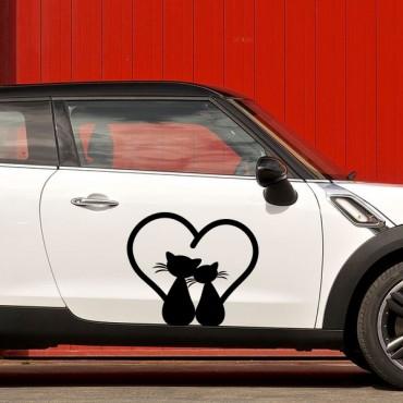Sticker Chats amoureux - stickers animaux & autocollant voiture - stickmycar.fr