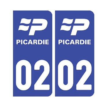 Sticker Pack de 2 autocollants pour plaque d'immatriculation (pour plaque avant et arrière) - nord-pas-de-calais-picardie & autocollant voiture - stickmycar.fr