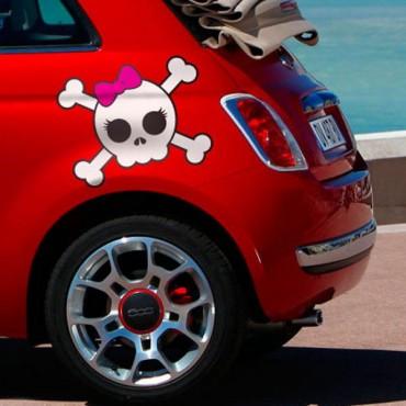 Sticker Skull girl - stickers tête de mort & stickers auto - stickmycar.fr