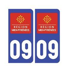 Sticker plaque Ariège 09 - Pack de 2