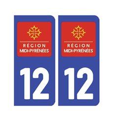 Sticker plaque Aveyron 12 - Pack de 2