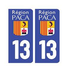 Sticker plaque Bouches-du-Rhône 13 - Pack de 2